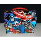 Captain America Workmans Carry All Tin Tote Lunchbox Style B