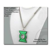 Green Lantern Necklace with Pave Pendant