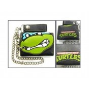 TMNT Big Face Leo Black Wallet & Chain
